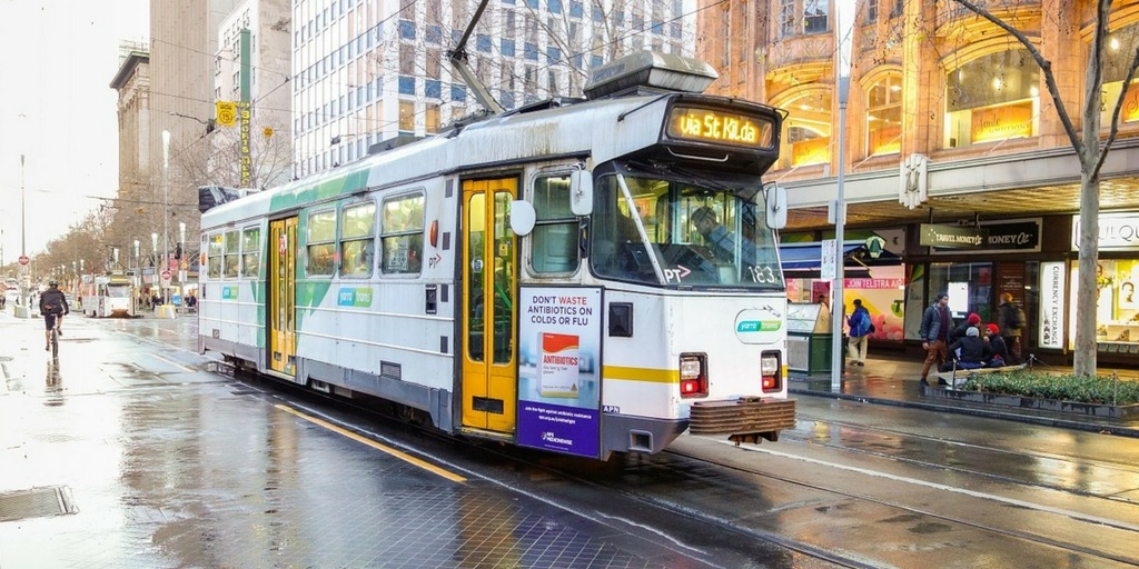 A Melbourne tram on a wet day | Little City Trips Guide how to get around Melbourne