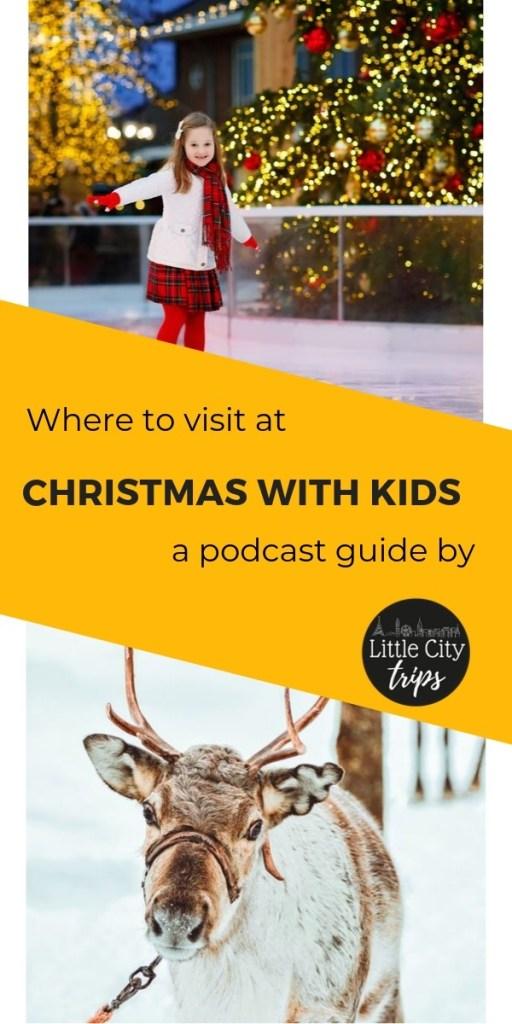 Christmas travel with kids - girl iceskating and reindeer