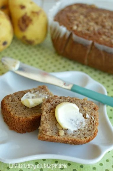 Pear Bread is so moist and yummy! The streusel topping is my kids favorite part! Little Dairy on the Prairie