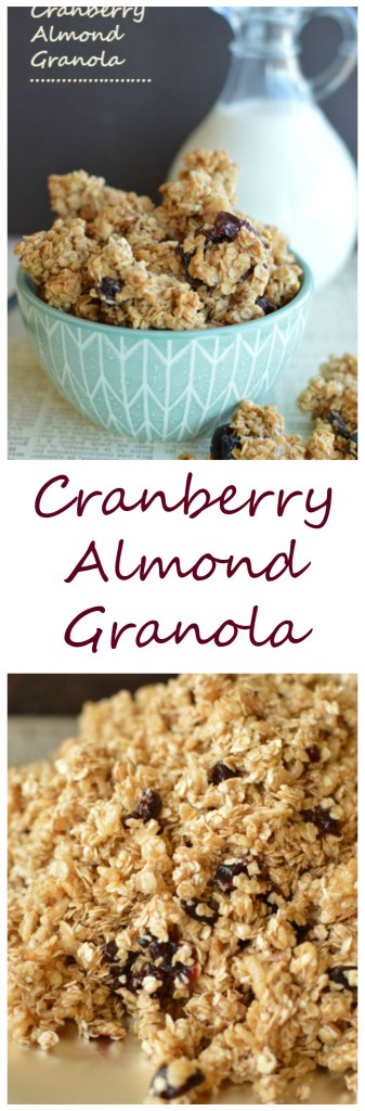 Cranberry Almond Granola! Of course it's perfect served with milk, but I can't quit snacking on it all by itself! Little Dairy on the Prairie