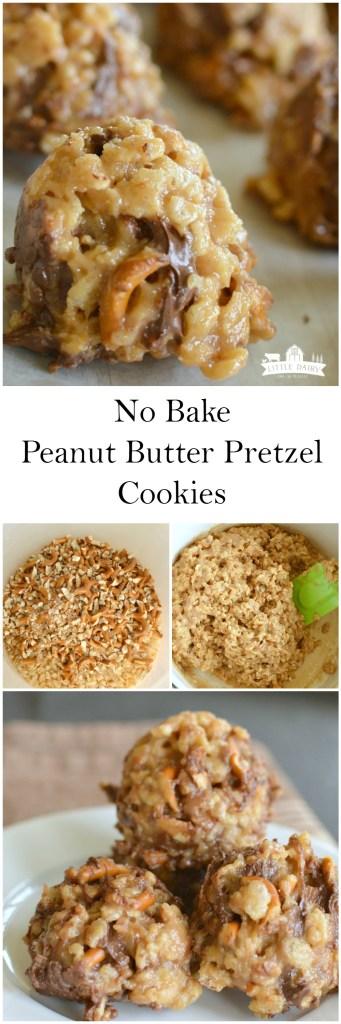 Pinterest collage of no bake peanut butter pretzel cookies