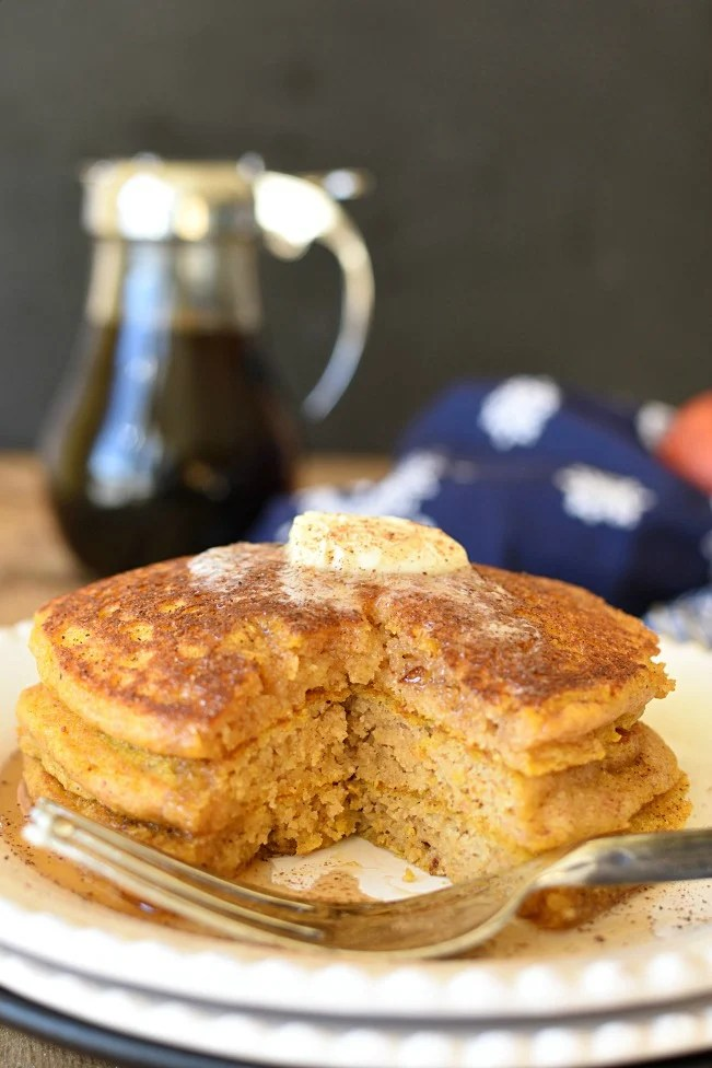 Pumpkin Pie Pancakes with a wedge out of them