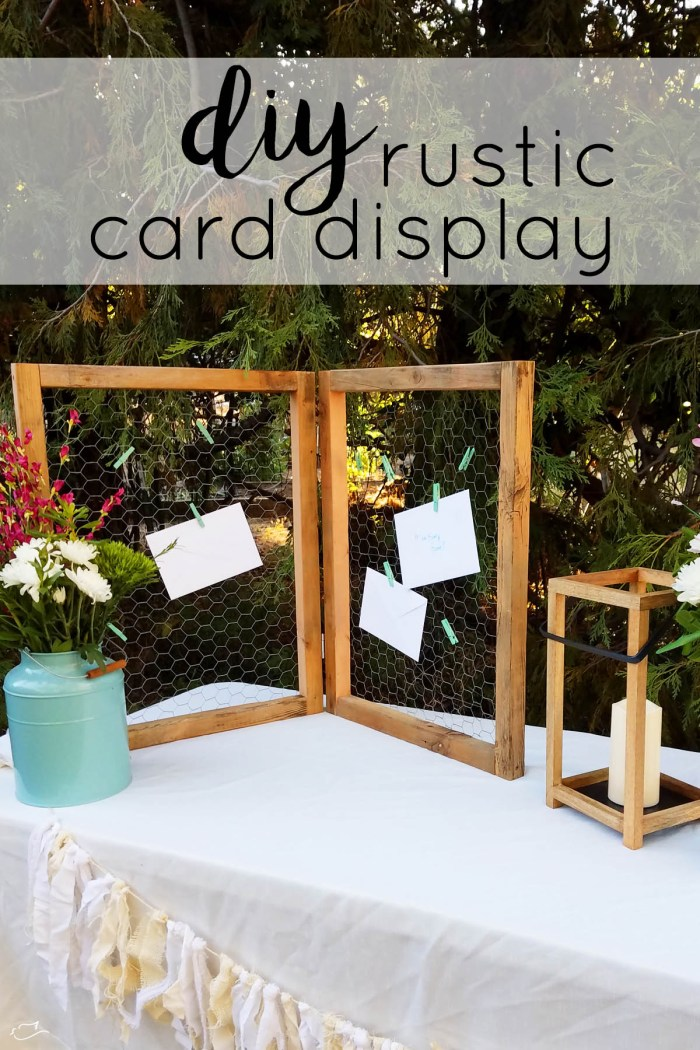 rustic card display with American Greetings and Walmart
