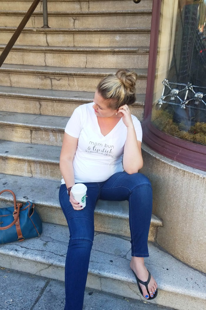 Pinkblush styled white tee and jeans, maternity