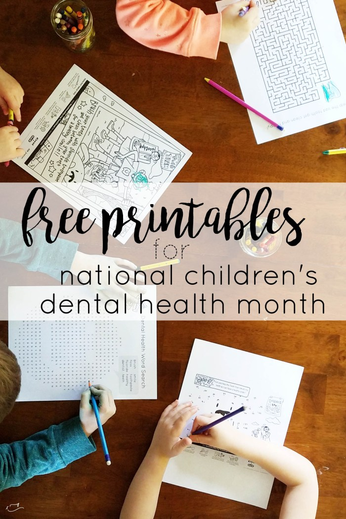 Justine Young, dentist's wife and lifestyle blogger shares some free printables for national children's dental health month in February.
