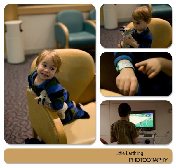 Apollo at Seattle Children's Hospital waiting to get his adenoids removied.