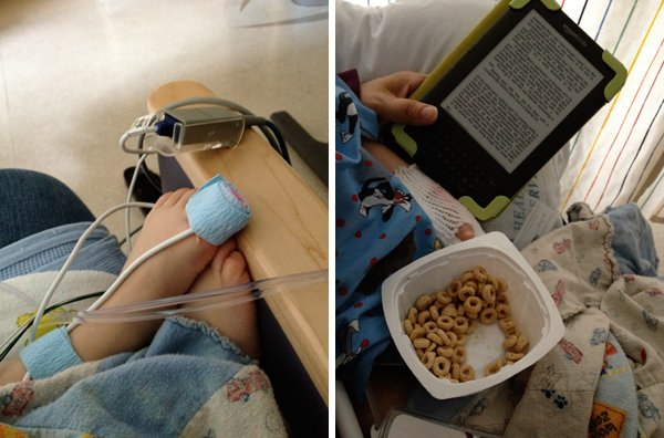 Recovery after surgery in hospital room.