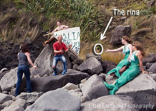 Mermaid tosses ring to man so he can propose.