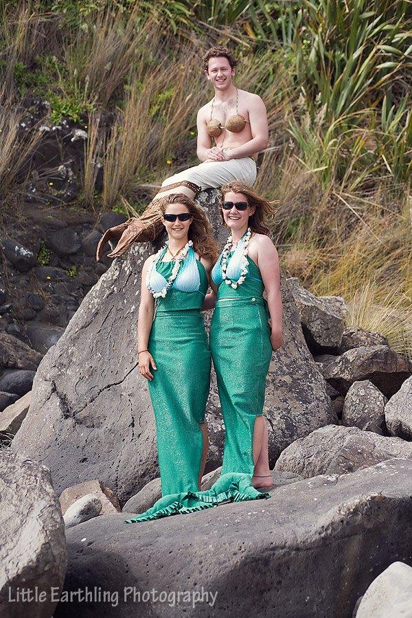Mermaids on beach in New Zelaland.