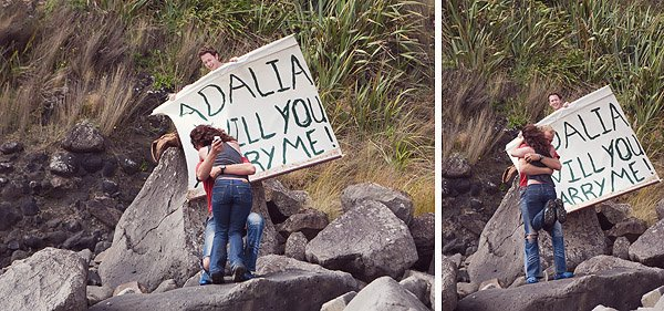 New Zealand man proposes to girlfriend with mermaids on the beach.