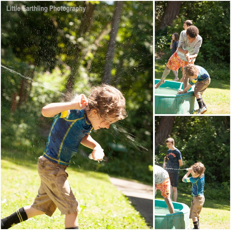 kids having a water fight