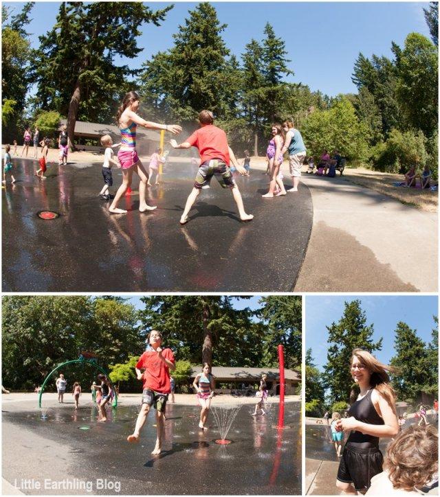kids playing at spray park