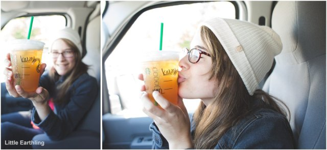 teen girl with Starbucks drink