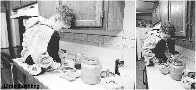 preschooler making sandwich