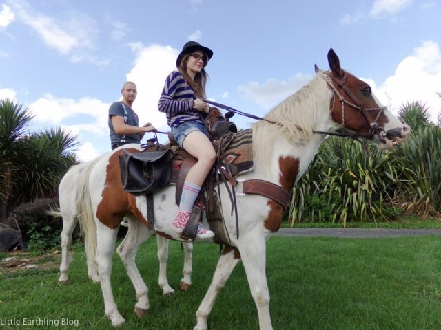Kalina riding a horse in New Zeland. She's certianly not sheltered!