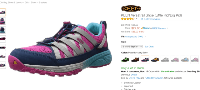 How to save money on kids' clothes by buying shoes on Amazon.