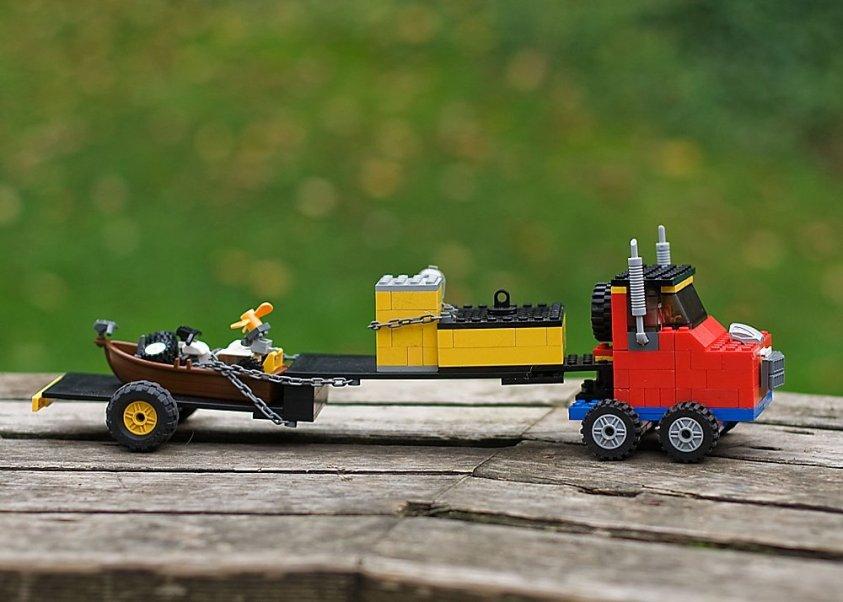 LEGO semi truck built by kids.