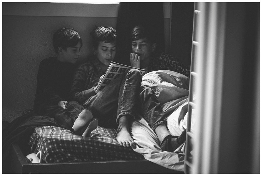 Three brothers reading. 2017-2018 First day of school.