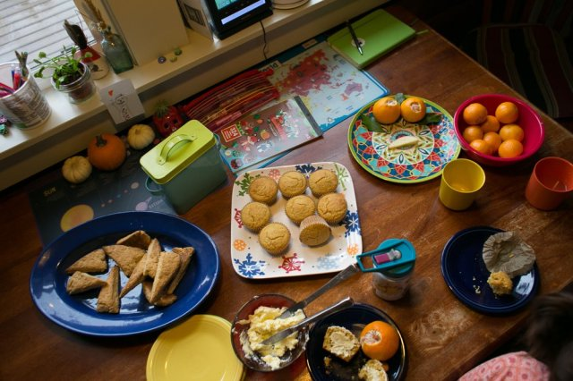 The beautiful spread of snacks Kym provided during our homeschool adventure.