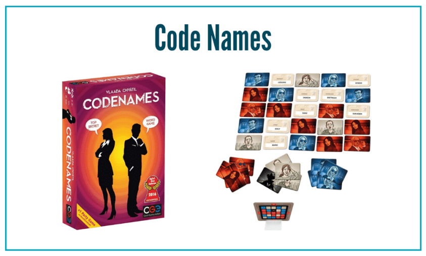 Code Names is a fun board game where you work in teams to figure out clues.