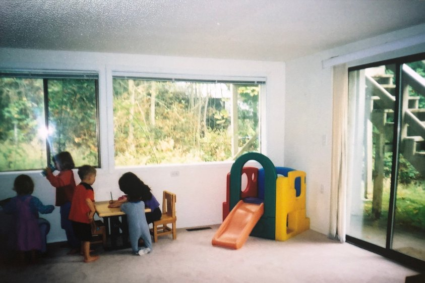 Minimalist playroom for seven kids.