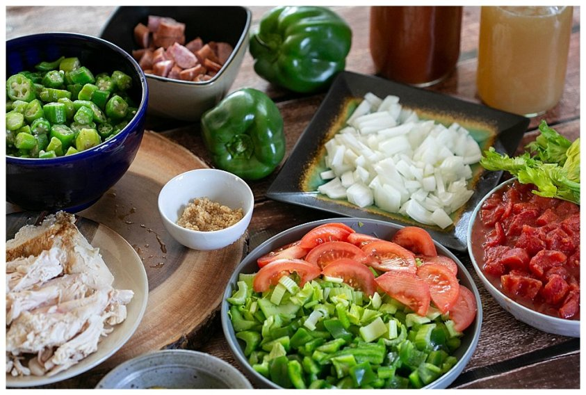 Prepping veggies for this quick and easy chicken gumbo recipe for large families.