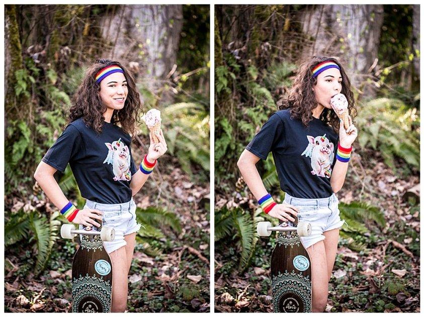 Rainbow skater girl in woods eating ice cream.