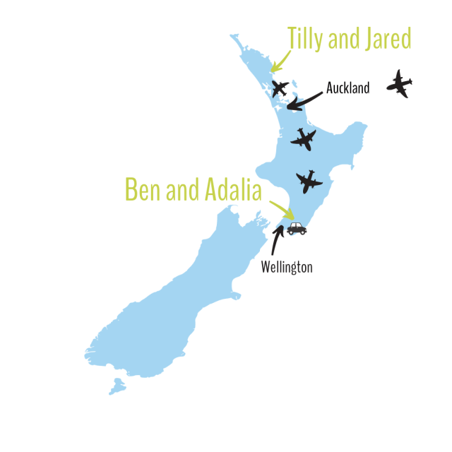 A map of New Zealand showing how far apart the girls live.