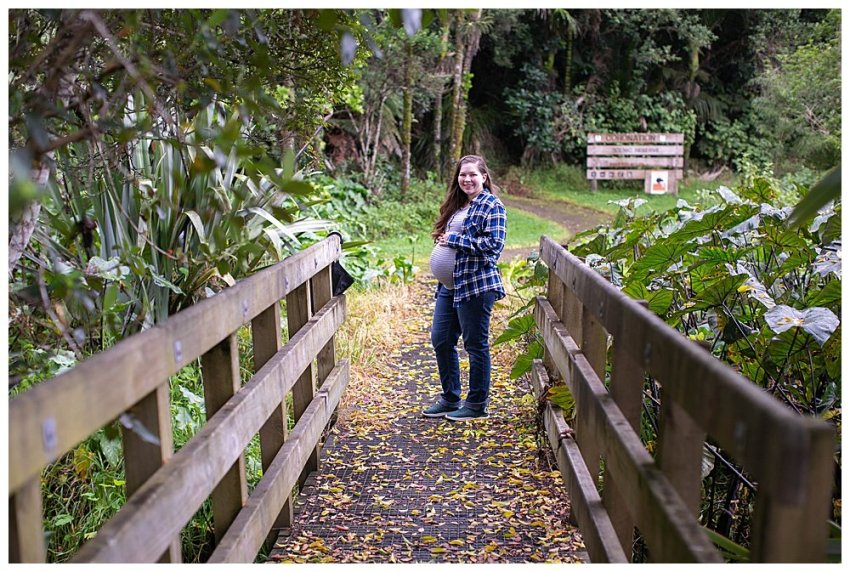 Tilly on a bridge at the Coronation Scenic Reserve.