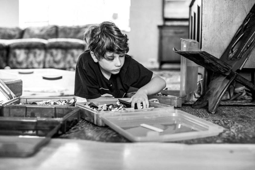 Apollo playing with LEGO