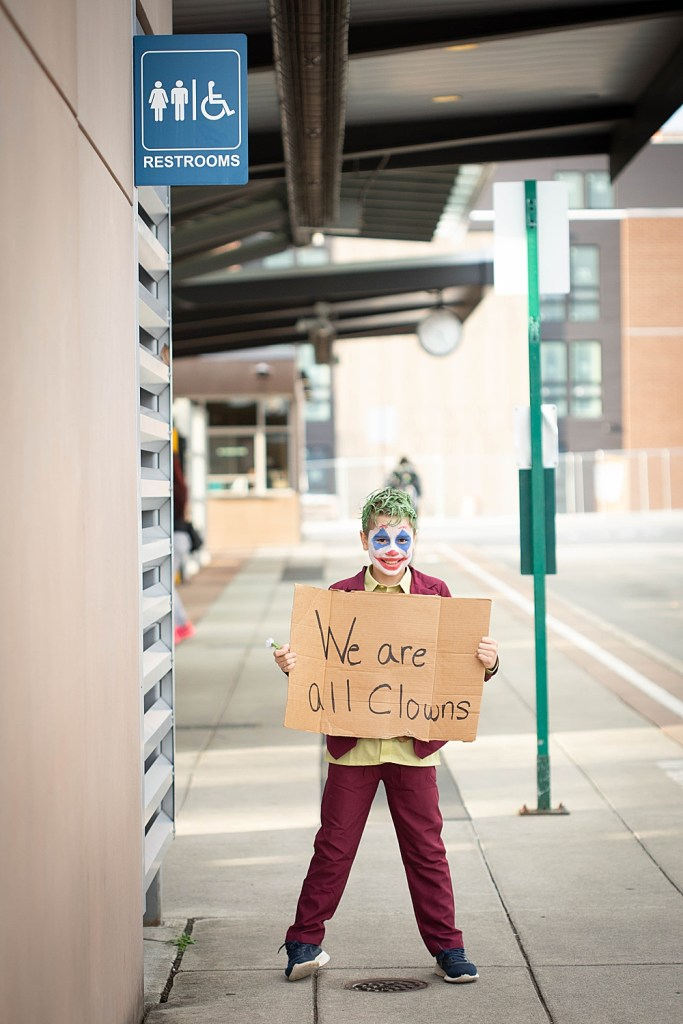 Boy dressed as arthur fleck in this easy joker-inspired costume.