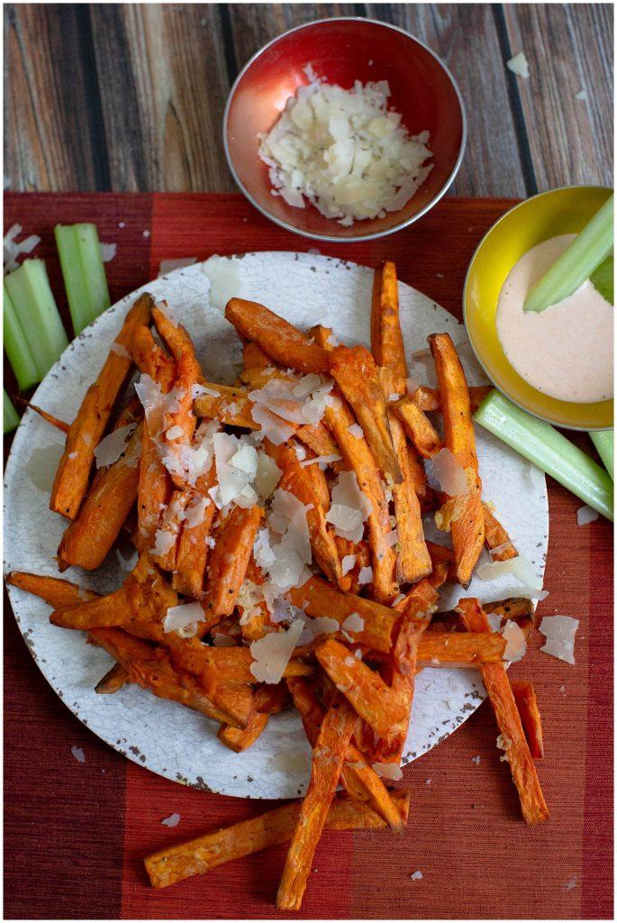 Sweet potato fries with buffalo dipping sauce.
