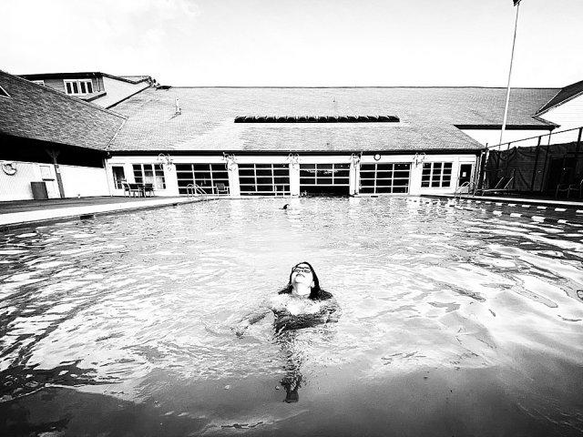 Jubilee swimming in the pool at Semiahmoo Resort.