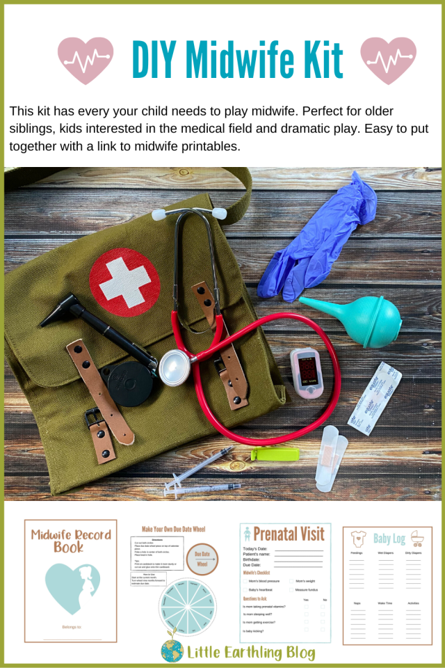 DIY midwife kit with printables for dramatic play at home, school, or day care.