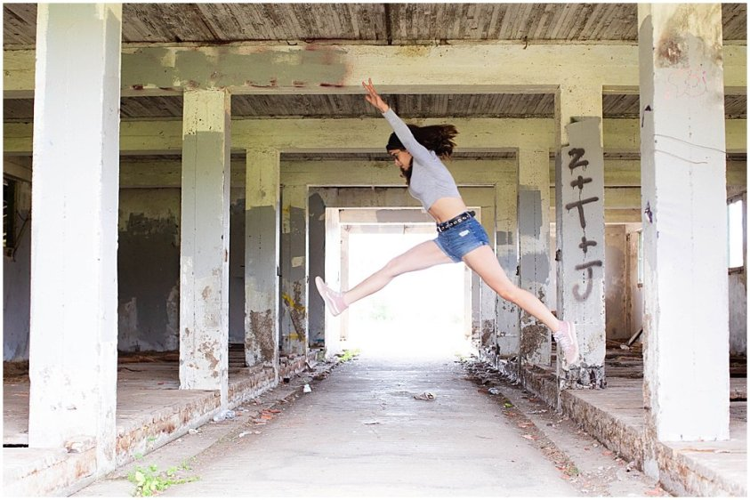 Jump! Abandoned building at Northern State Hospital.