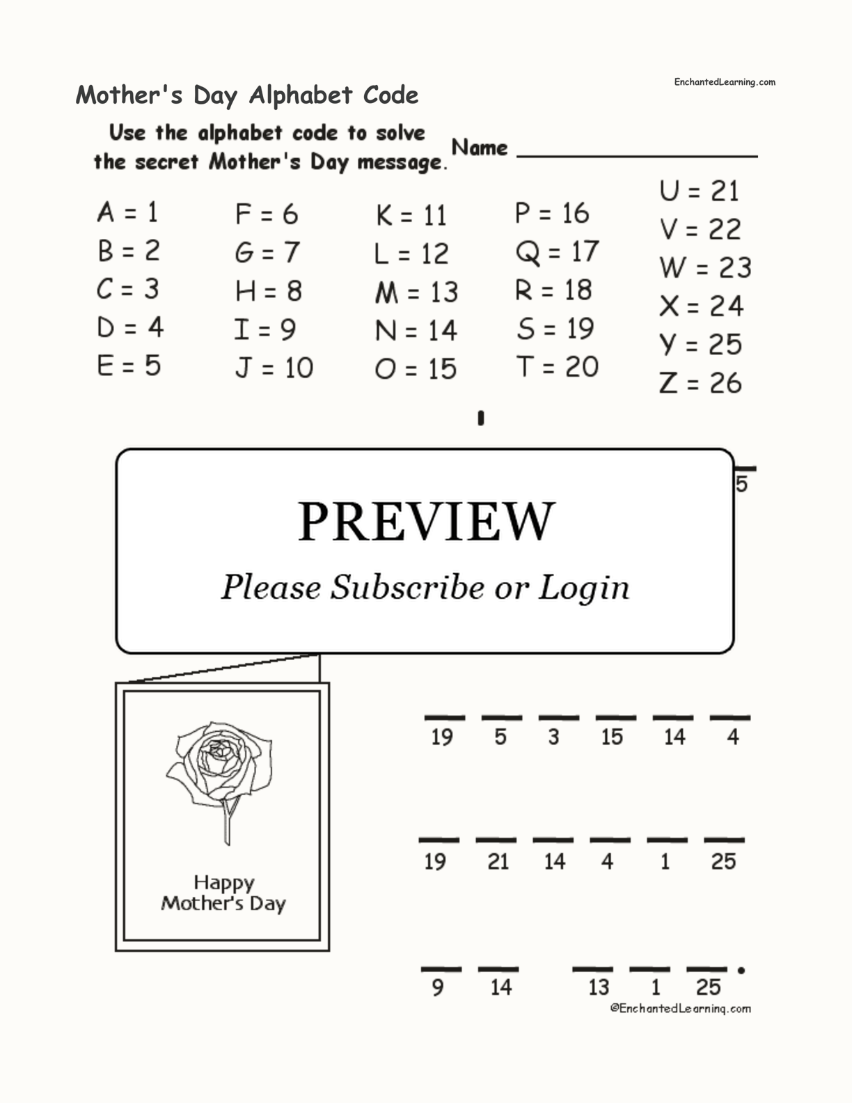 Mother S Day Alphabet Code