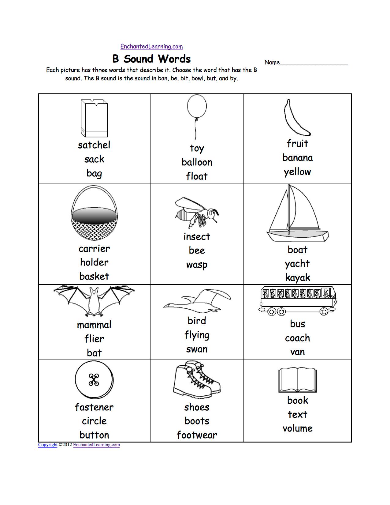 Letter B Alphabet Activities At Enchantedlearning