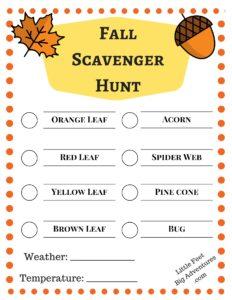 Fall Scavenger Hunt For Kids
