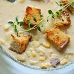 Corn Chowder with Smokey Bacon and Thyme Scented Croutons