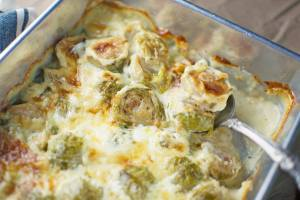 Creamy Brussel Sprouts Au Gratin - #BrusselSprouts - @LittleFiggyFood