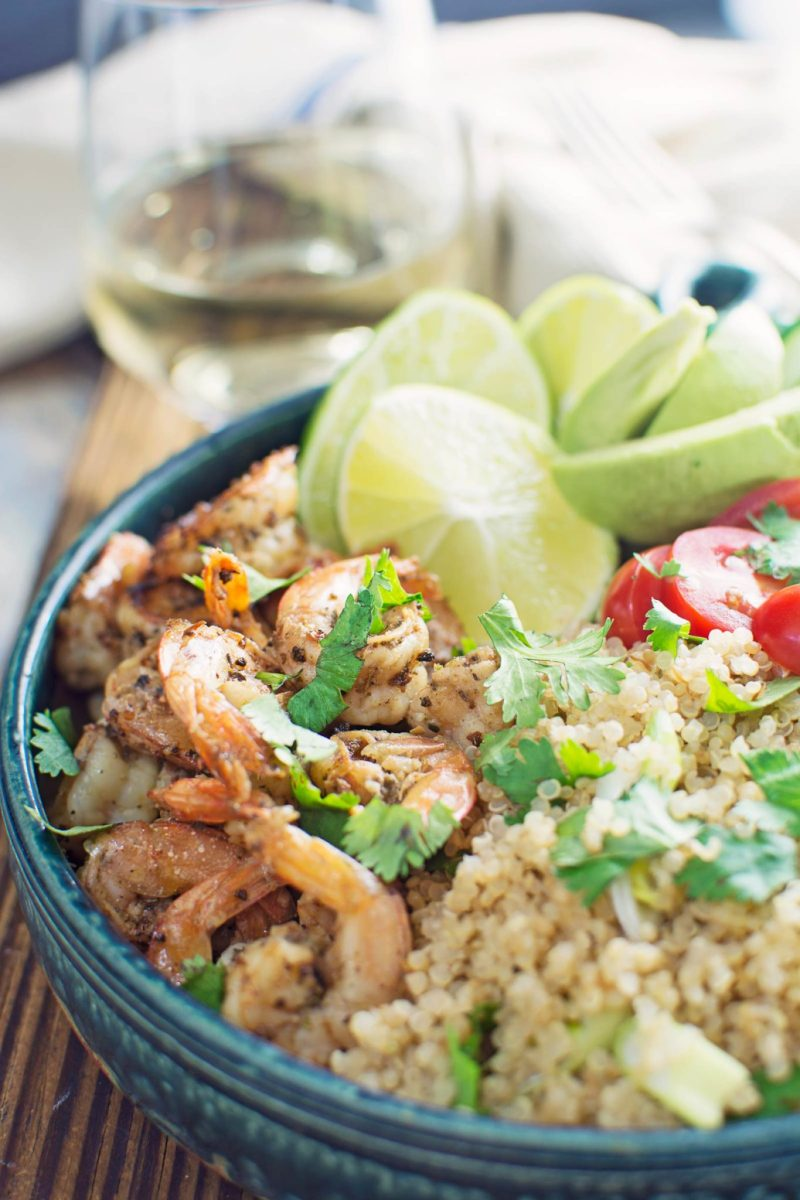 Garlic Lime Shrimp served up with a Cilantro Quinoa Salad! #120DaysOfSummer is here! Recipe found @LittleFiggyFood - #sponsored