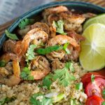 Garlic Lime Shrimp with Cilantro Quinoa Salad