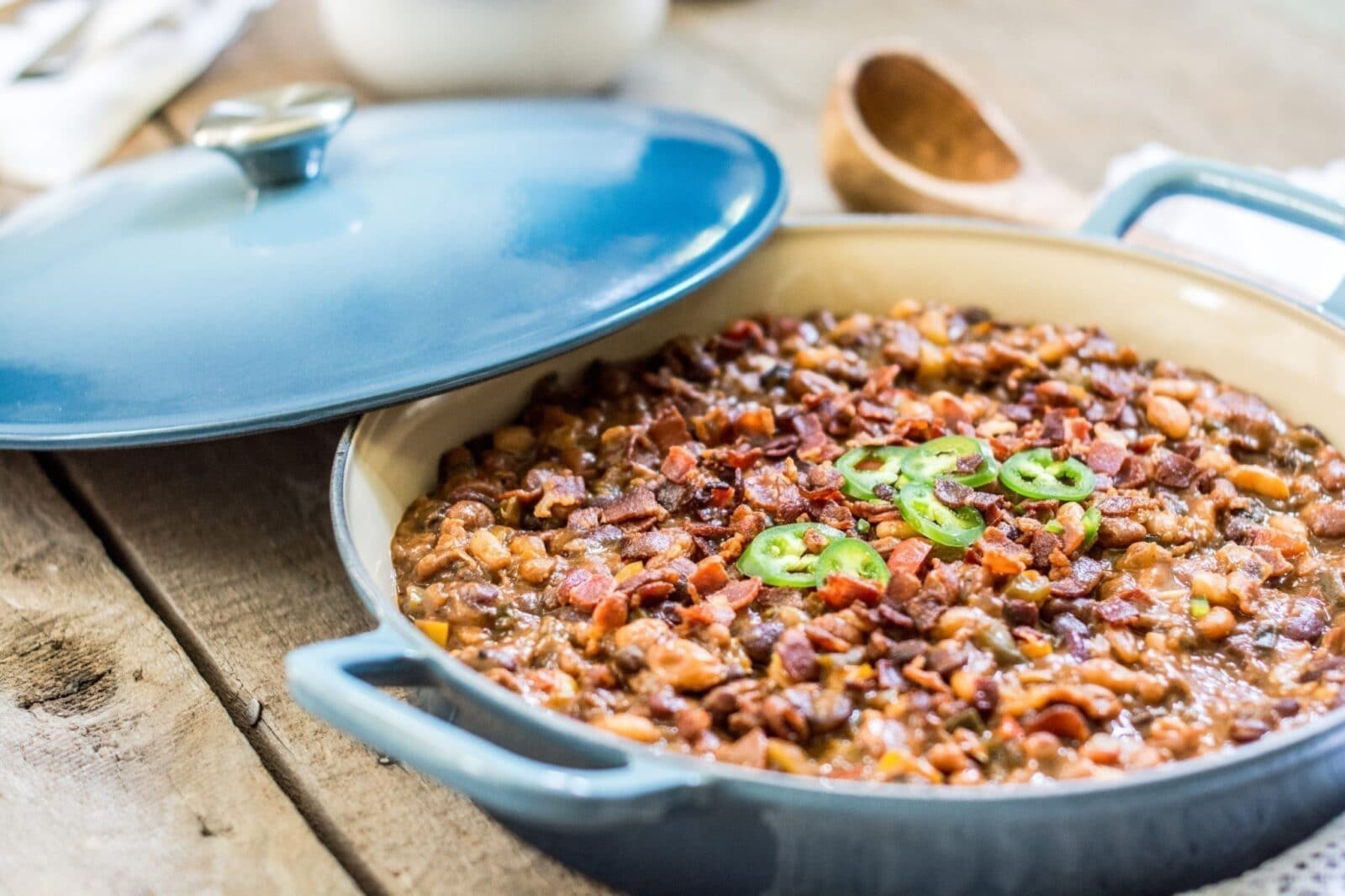 """Loaded and Smokin' BBQ Beans, made in my favorite """"does everything"""" Fait Tout from @lecreuset."""