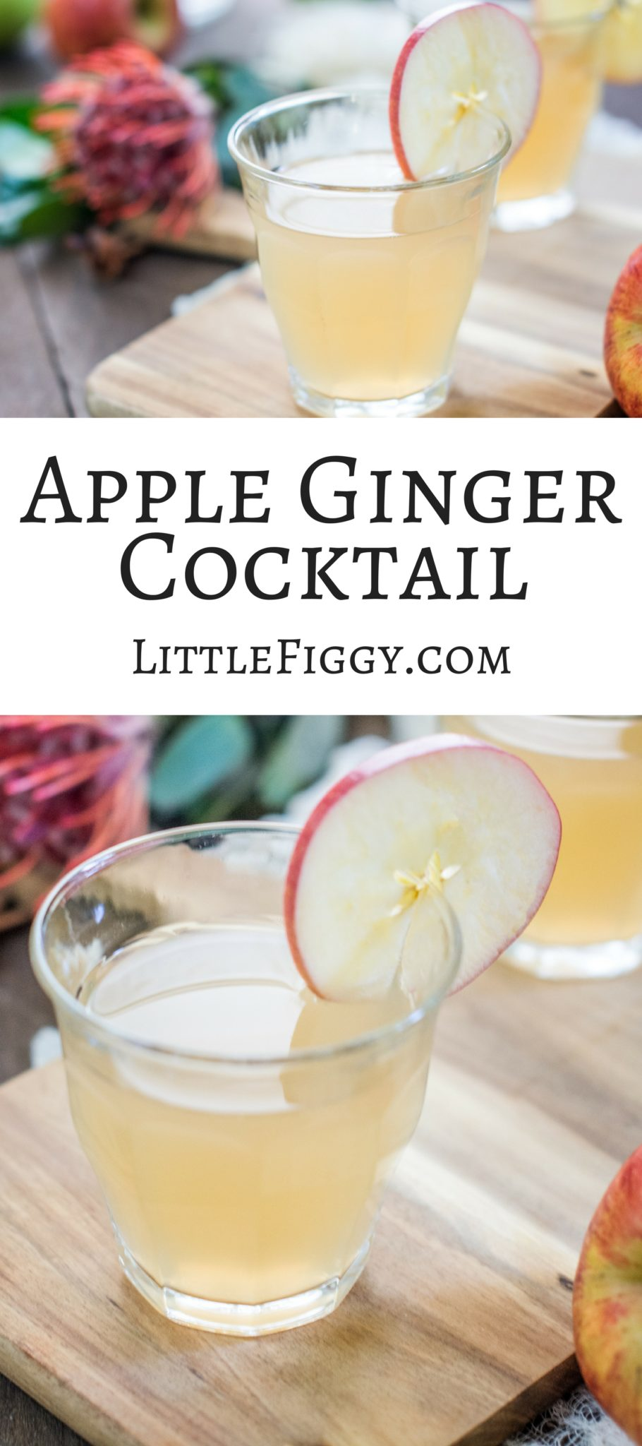 A lovely crisp cocktail that's perfect for fall, Apple Ginger Cocktail! Get the Recipe at Little Figgy Food
