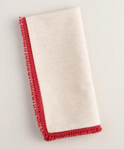 Chambray Napkins with Red Chenille Trim