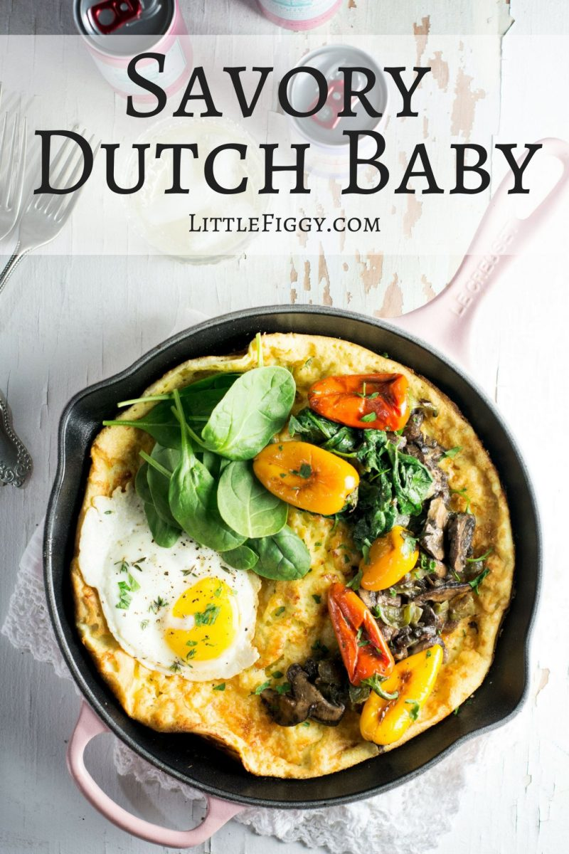Savory Dutch Baby, perfect for an easy to make brunch, made in my favorite @LeCreuset skillet! Pair the dutch baby with @enjoyPampelonne! #ad ##LeCreusetLove #EnjoyPampelonne