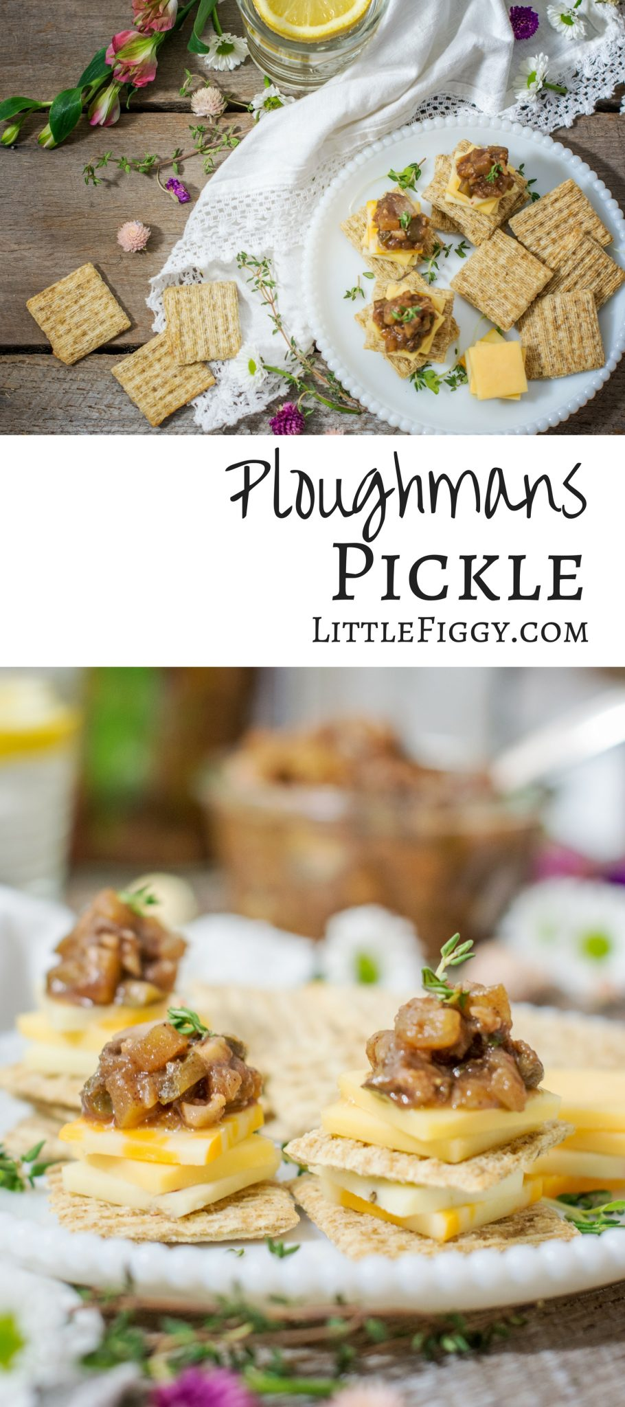 Enjoy making your own Ploughmans Pickle, Britains favorite pickle! Serve it on @TRISCUIT Crackers with a nice sharp cheese! Get the recipe at Little Figgy Food. #ad #TriscuitCharcuterie