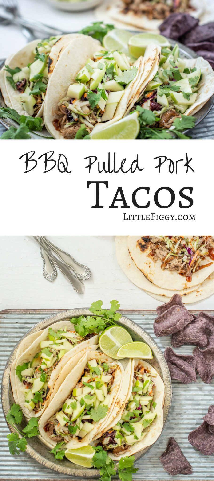 Love this zesty #BBQ Pulled Pork Taco #recipe made with #BudweiserBBQSauce then topped off with a crunchy broccoli slaw & gorgeous apple salsa! Get the recipe at Little Figgy Food! @Budweiser #ad #BudweiserSauce #KingOfSauces #Carnitas