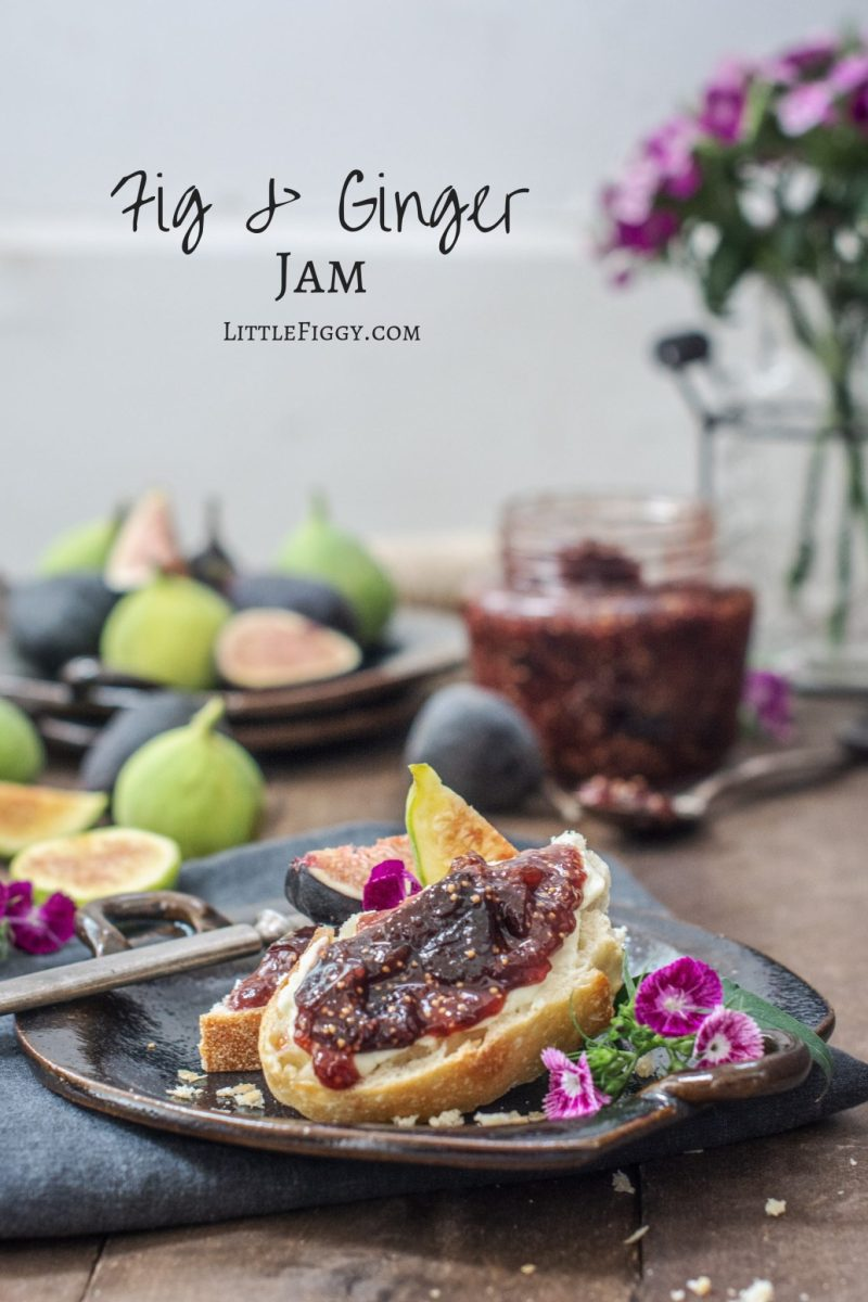 Easy to make Fig Jam Recipe served on toast with fresh fruit