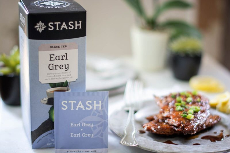 Box of Stash Earl Grey Teabags with Salmon on silver plate
